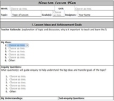 Lesson Plan Template- Easy Drop Down Menus