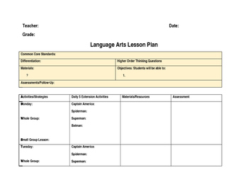 Lesson Plan Template **Editable**