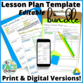 Lesson Plan Template Editable Bundle Daily Weekly and Unit