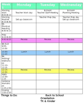 Lesson Plan Template Editable & First 2 weeks of Lesson Plans for Kinder