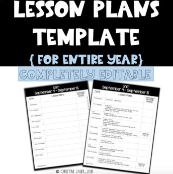 Lesson Plan Template  {Entire Year}
