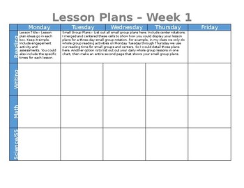 Lesson Plan Template FREEBIE