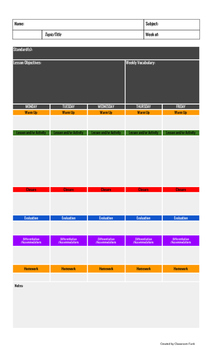 Lesson Plan Template Fillable PDF By MyClassroomFunk TpT - Pdf lesson plan template