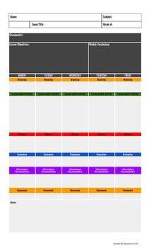 Lesson Plan Template (Fillable PDF)