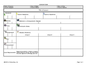 Lesson Plan Template for Groups