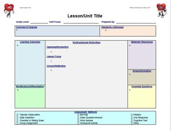 Lesson Plan Template Health Editable By Capn Petes Power PE - Health lesson plan template