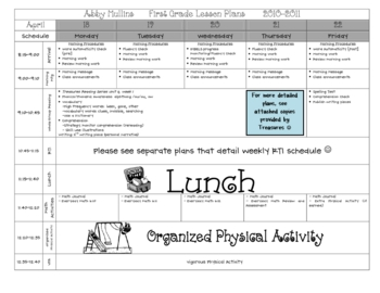 Lesson Plan Template PreK Elementary By Babbling Abby TpT - Pre k weekly lesson plan template