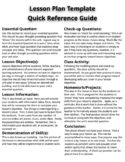 Lesson Plan Template Quick Reference Guide