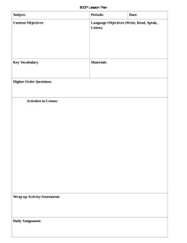 ... Lesson Plan Template (SIOP)