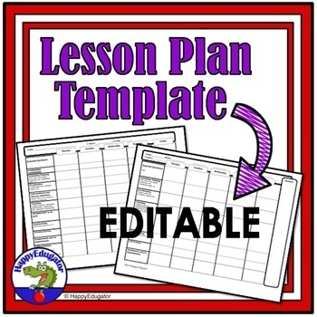 Lesson Plan Templates Editable Standards Based By