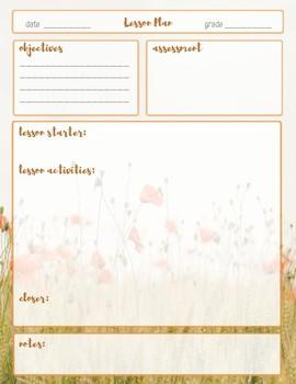 Lesson Plan Template-Wildflower Theme