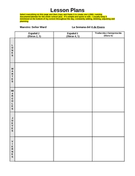Lesson plan template year long calendar planner by senor for Yearly lesson plan template
