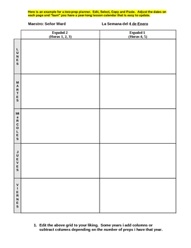 Lesson Plan Template (Year-long calendar/planner)