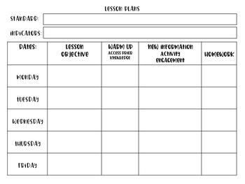 Lesson Plan Template and Cover Page (great for GANAG ...