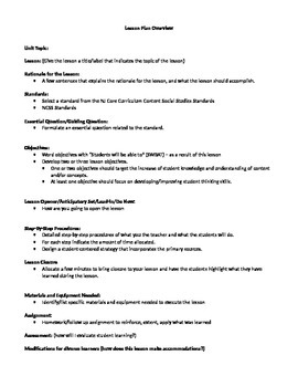 Lesson Plan Template and Overview