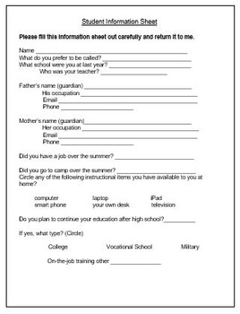 Lesson Plan Template/ Blank Student List/ Student Info Page - EDITABLE
