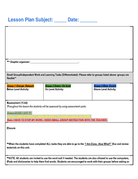 Lesson Plan Template for ANY Subject