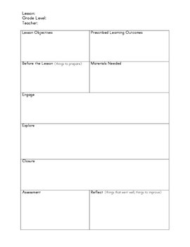 Lesson Plan Template for All Grades