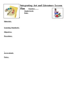 Lesson Plan Template for Art and Literature Lessons