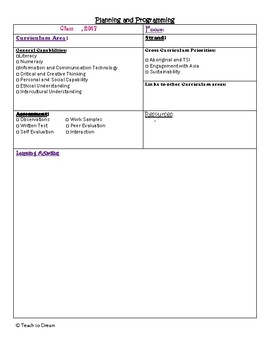 Lesson Plan Template for Australian Curriculum - Editable