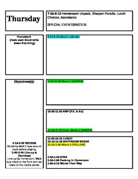 Lesson plan template for block schedule week time frame by for 4 blocker template