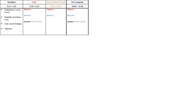 Lesson Plan Template for Kindergarten with Common Core drop down menu's