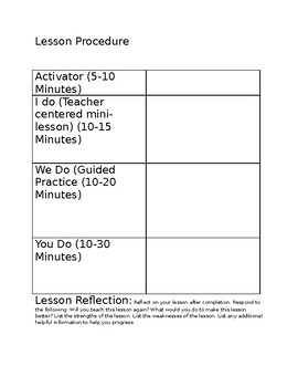 Lesson Plan Template for Observation with Standard Alignment