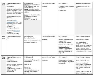 Lesson Plan Template for Period Schedule / Includes Case Manager To Do
