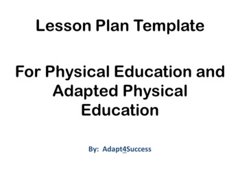Lesson plan template for physical education an adapted physical lesson plan template for physical education an adapted physical educationd saigontimesfo