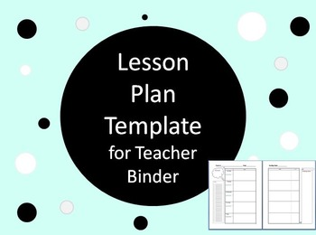 Lesson Plan Template for Teacher Binder