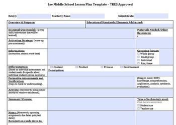 Lesson Plan Template for Teacher Keys Evaluation System