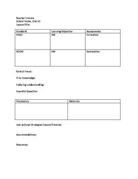 Lesson Plan Template for Visual Art