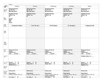 Lesson Plan Template for an Entire Week 11 by 17 paper