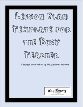 Lesson Plan Template for the Busy Teacher