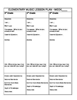 Lesson Plan Template for the Elementary Music Classroom.  Editable
