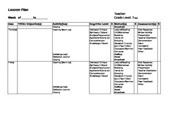 Lesson Plan Template on Microsoft Excel