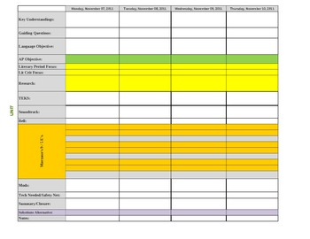 Lesson Plan Template with Drop-Down menus for multiple standards