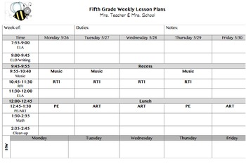 Lesson Plan Template with Homework