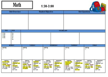Lesson Plan Template with Schedule, Reminders, and Centers Pages NEW VERSION!