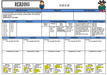 Lesson Plan Template with Schedule, Reminders, and Centers