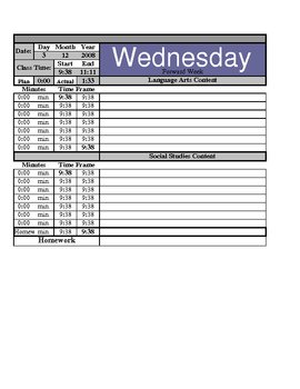 Lesson Plan Template with automatic time frames