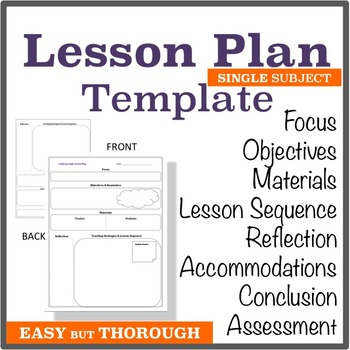 Lesson Plan Template Single Subject Graphic Organizer By The Hot
