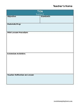 Lesson Plan Templates, Editable