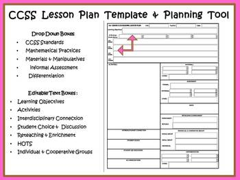 3rd Lesson Plan Templates CCSS, COMPASS / Danielson Math, Reading & Grammar