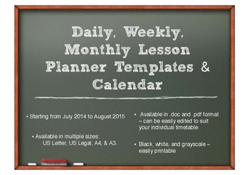 Lesson Plan Templates & Calendars (Daily, Weekly, & Monthl