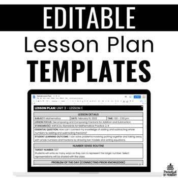 Formal Lesson Plan Templates | EDITABLE