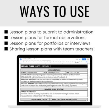 Formal Lesson Plan Templates | EDITABLE