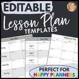 Lesson Plan Templates EDITABLE- Happy Planner Friendly Bla