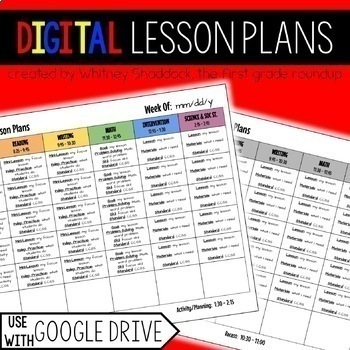 Lesson Plan Templates EDITABLE compatible with Google Drive