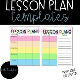 Lesson Plan Templates - Editable
